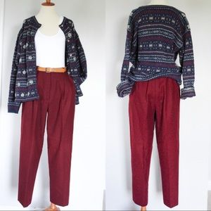 ☾ Vintage burgundy 100% wool pleated dress pants